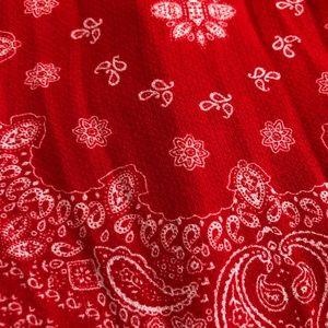 Self Esteem Tops - Red Paisley Print Off-shoulder Top Plus Size